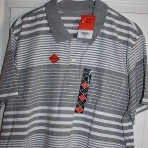 Grey and White striped polo, XL, NWT